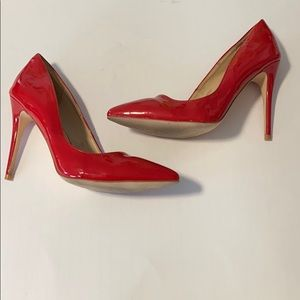 Rogue Cherry Red Patent Pointed Toe Heels
